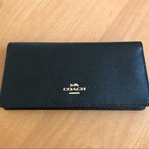 Coach Black & Gold Checkbook Wallet